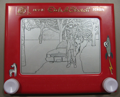 """Say Anything"" on an Etch-A-Sketch by methodshop.com"